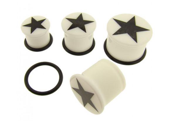 DESTOCKAGE Plug blanc étoile noire - du 8 au 19mm