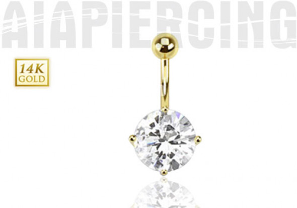 Piercing nombril Or jaune zircon blanc