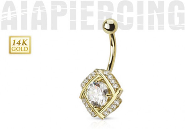 Piercing nombril pierre ronde et diamants CZ