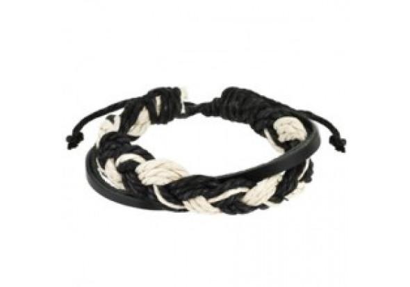 bracelet homme en cuir tress noir et blanc aia piercing. Black Bedroom Furniture Sets. Home Design Ideas