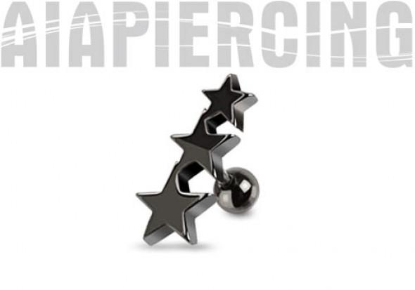 Piercing cartilage étoiles noires