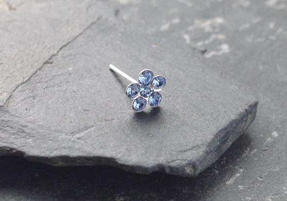 piercing nez argent fleur bleu clair aia piercing. Black Bedroom Furniture Sets. Home Design Ideas