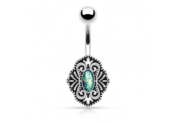 piercing nombril vintage opale verte piercing opale de qualit aia piercing. Black Bedroom Furniture Sets. Home Design Ideas