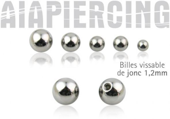 Accessoire piercing Bille acier chirurgical 1,2mm