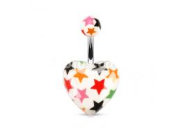 Piercing nombril cœur blanc imprimé étoiles multicolores