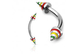 Piercing arcade Spike rasta 4mm