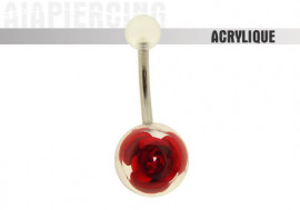 Piercing nombril acrylique rose rouge