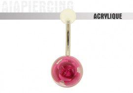 Piercing nombril acrylique rose rose