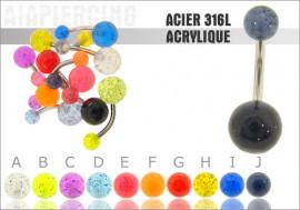 DESTOCKAGE nombril acrylique translucide pailleté