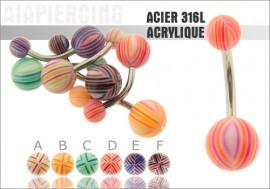 Piercing nombril acrylique fines rayures