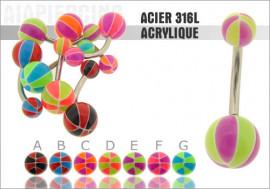 Piercing nombril acrylique ballon basket bicolor