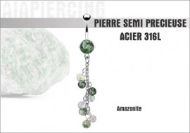 Piercing nombril grappe d'amazonites