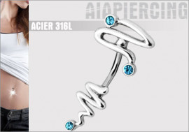 Piercing nombril Spirale Turquoise