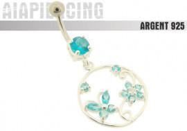 Piercing nombril pendentif papillon et fleur turquoises