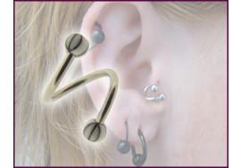 Piercing Spirale accessoires acrylique blanc rayé