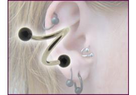 Piercing Spirale accessoires acrylique bille noire