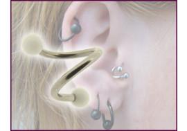 Piercing Spirale accessoires acrylique bille blanche