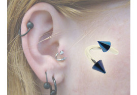 Piercing Spirale acier - Spikes bleu nuit 1.2mm x 3mm