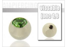 Accessoire piercing Bille cristal vert 1.6mm