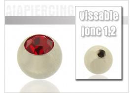 Accessoire piercing Bille cristal rouge 1,2mm