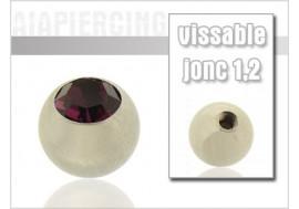 Accessoire piercing Bille cristal violet 1,2mm