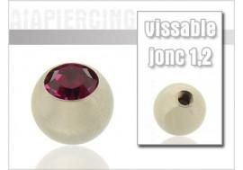 Accessoire piercing Bille cristal fushia 1,2mm