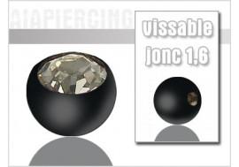 Accessoire piercing Bille blackline cristal blanc