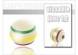 Accessoire piercing Bille rayée vert/jaune/rouge 1.2mm