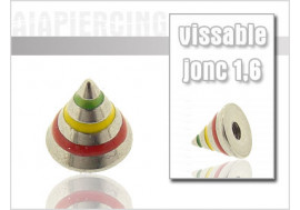 Accessoire piercing Spike rayé vert/jaune/rouge 1.6mm