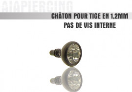 Accessoire piercing Châton noir et cristal blanc