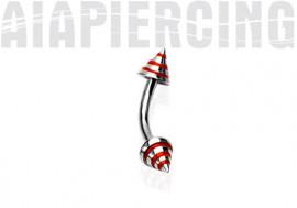 Piercing arcade Spike strié rouge