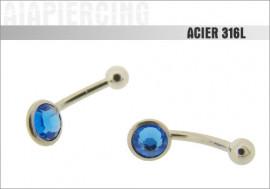 Piercing coupole cristal bleu foncé