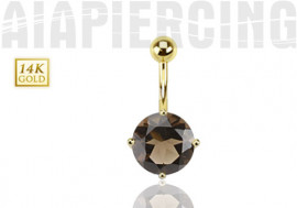 Piercing nombril or jaune quartz fumé