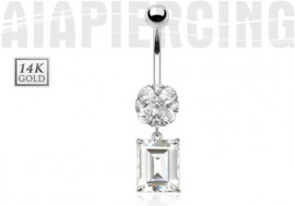 Piercing nombril fleur et pierre or blanc