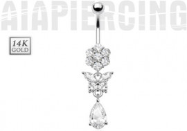 Piercing nombril fleur, papillon et pierre or blanc