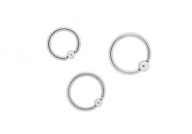 Piercing anneau BCR  bille clipsée - 1,6mm