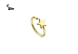 Piercing nez anneau acier étoile dorée