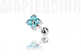 piercing cartilage : fleurs turquoise