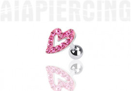 Piercing cartilage coeur pierres roses
