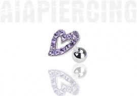 Piercing cartilage coeur pierres violettes
