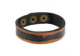 Bracelet en cuir noir et bordures marrons