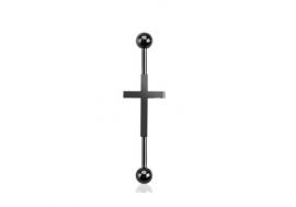 Piercing industriel motif croix plaqué noir