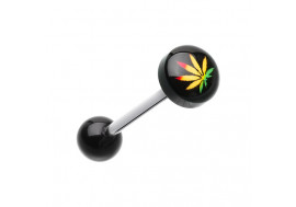 Piercing langue rasta cannabis
