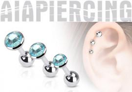 Piercing cartilage pierre bleue turquoise à l'unité.