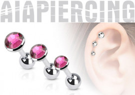 Piercing cartilage pierre rose à l'unité.