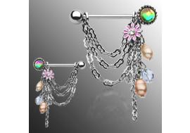 Piercing tétons perles et fleur