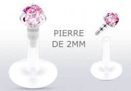 Piercing labret ou tragus pierre rose 2mm
