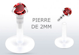 Piercing labret ou tragus pierre rouge 2mm