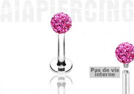 Piercing labret cristaux roses