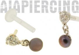 Piercing labret or gris pendentif perle et pierre